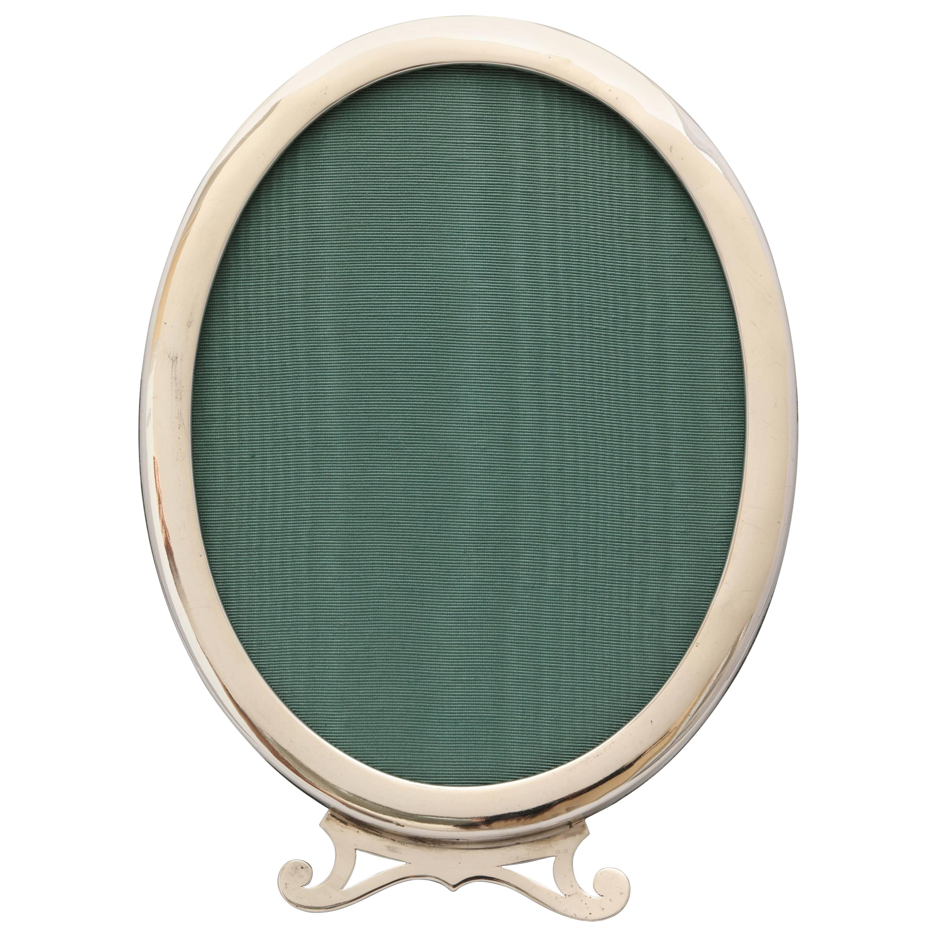 Art Nouveau Sterling Silver Oval Picture Frame