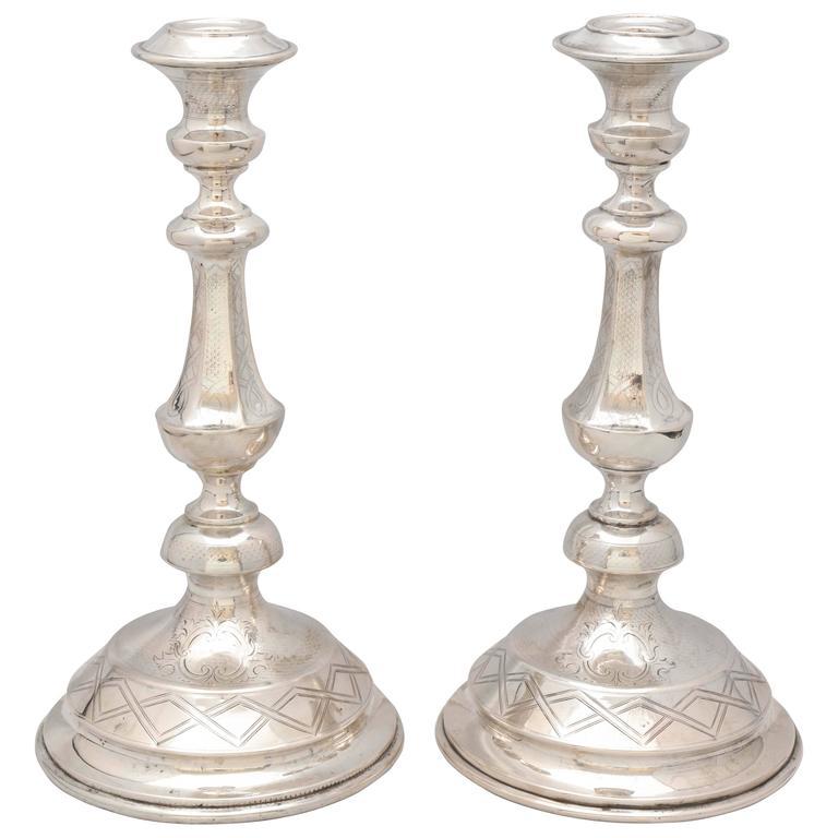 Pair of Austrian Continental Silver '.800' Candlesticks