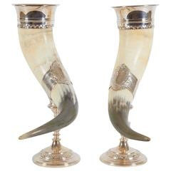 Antique English Pair of Horn Chalices with Silver Mounts