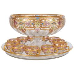 Art Nouveau Centerpiece Punch Bowl Set with Blown Glass under Tray and 11 Cups
