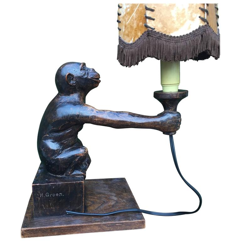 Rare and Decorative Carved Chimp, Monkey Wooden Table or Desk Lamp Early 1900 For Sale