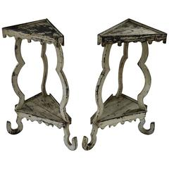 Pair of Italian Tall White Side Tables, circa 19th Century