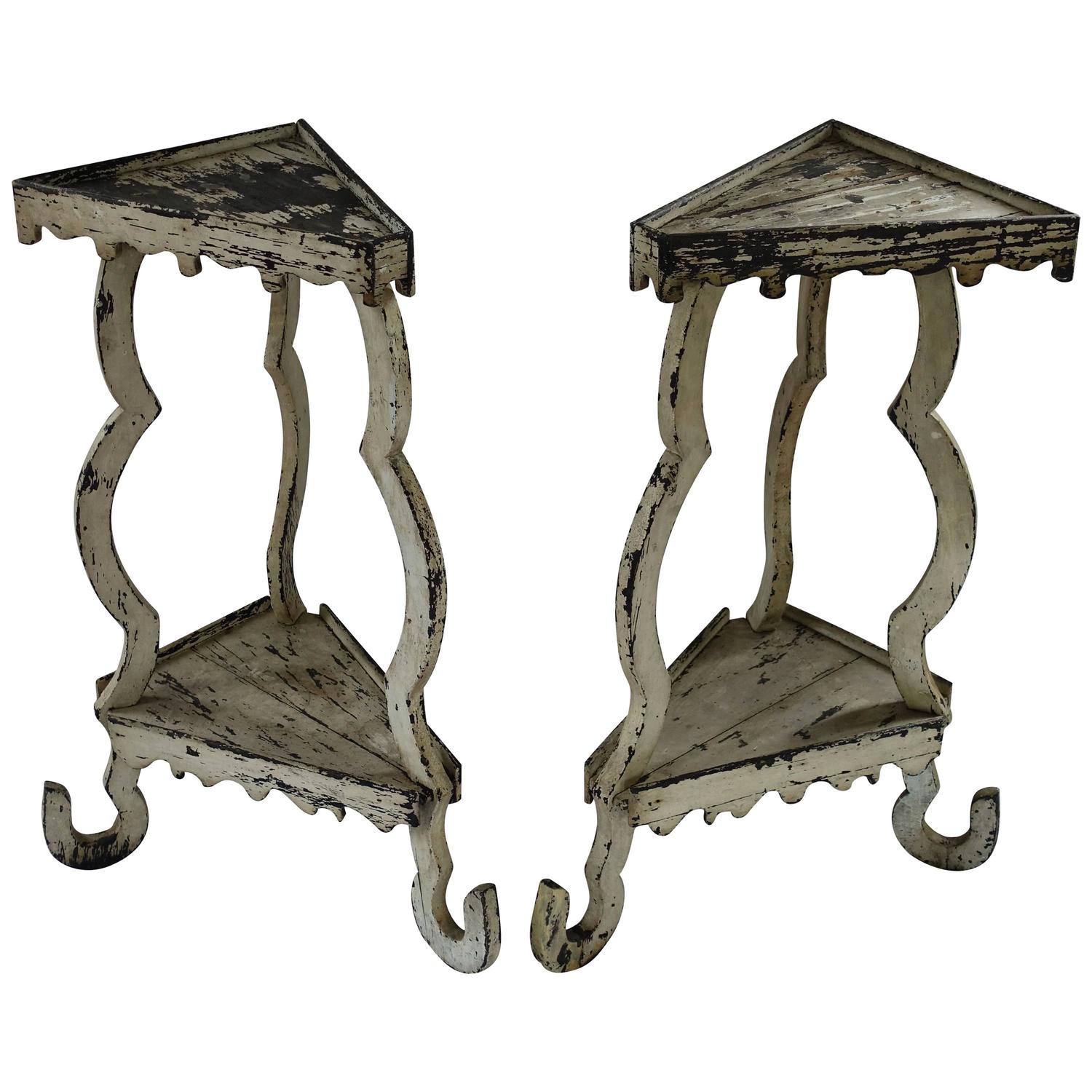 Pair of italian tall white side tables circa 19th century for Tall white end table
