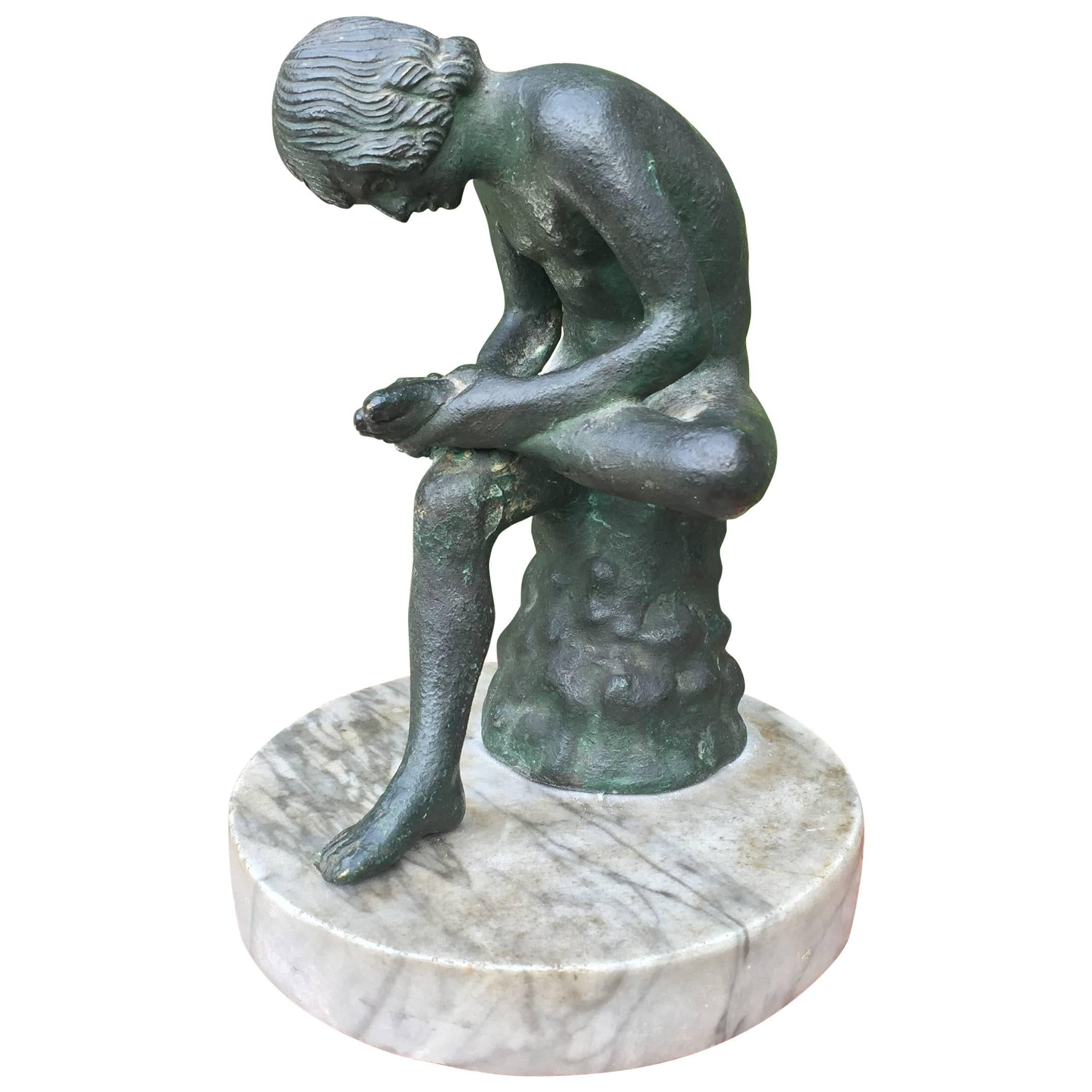 19th Century Marble & Bronze 'Spinario' Boy Pulling a Thorn from His Foot Statue
