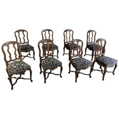 Set of Eight Antique Hand-Carved Country French Dining Chairs with Brocade Seats