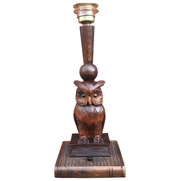 Early 20th century black forest hand carved wooden owl on book early 20th century black forest hand carved wooden owl on book table desk lamp for mozeypictures Choice Image