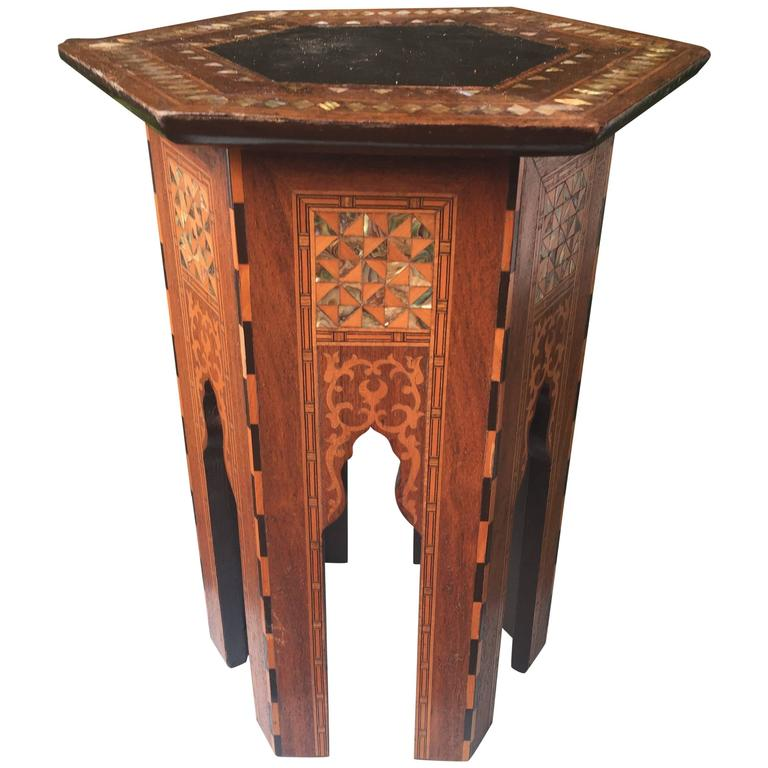 Early 1900s Inlaid Moorish Coffee Table or Stand in the Style of Liberty and Co For Sale