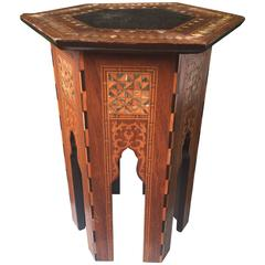 Early 1900s Inlaid Moorish Coffee Table or Stand in the Style of Liberty and Co