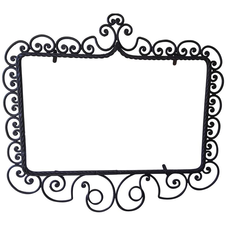 Wrought Iron Mirror/Picture Frame, Hand-Forged, Late Victorian Style, circa 1900