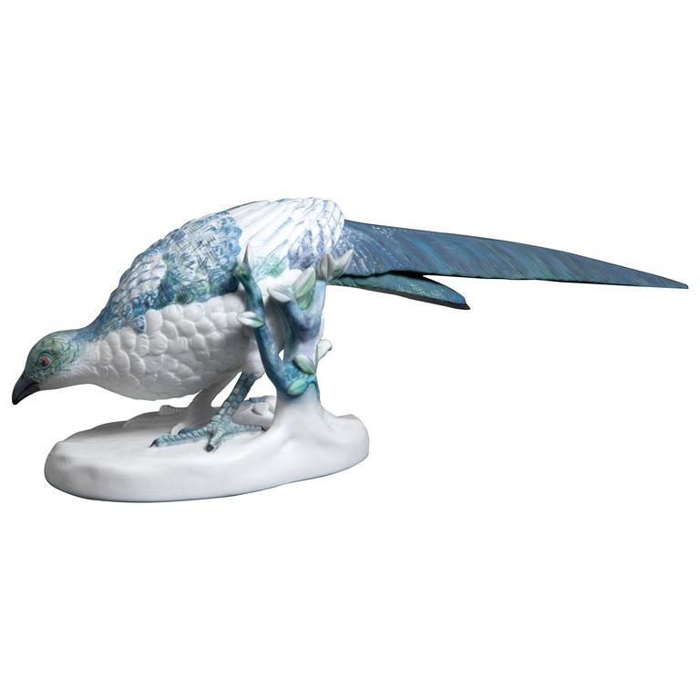 Hand-Painted Porcelain D. Silva Bird by Sam Baron
