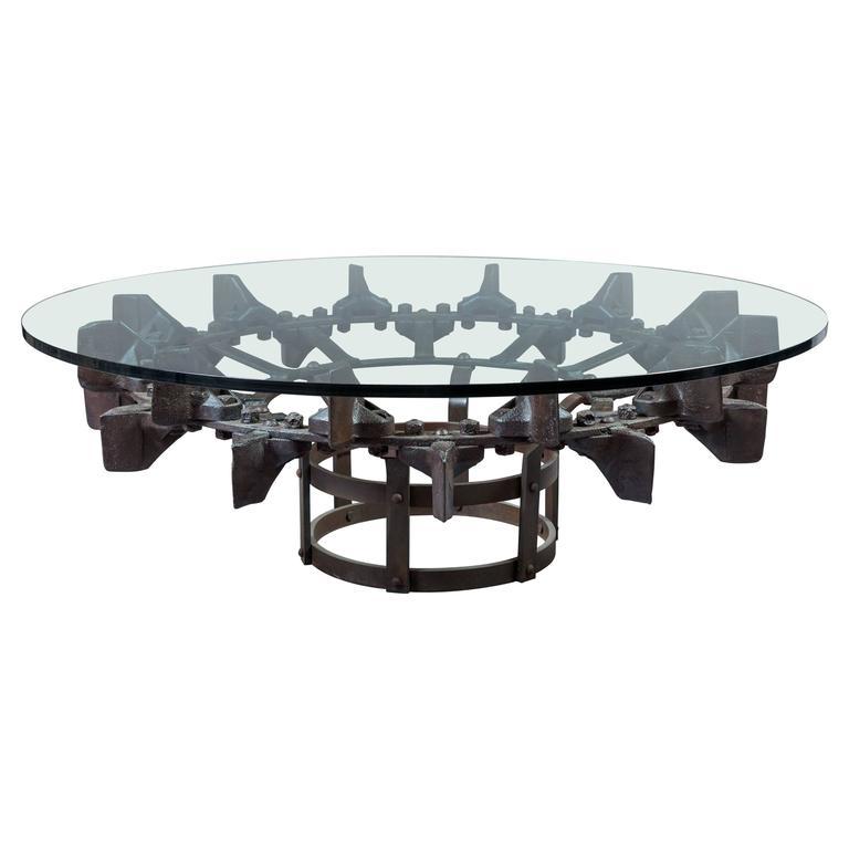 Industrial Coffee Table On Wheels At 1stdibs: Steel Excavator Wheel Table For Sale At 1stdibs