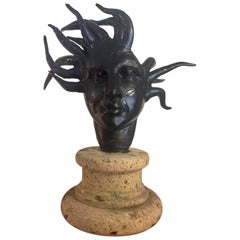 Striking Black Iron Medusa Sculpture