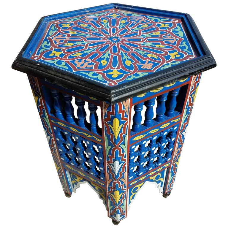 Moroccan redwood hand painted side table hand painted and for Moroccan hand painted furniture
