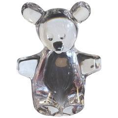 Signed Daum France Crystal Glass Teddy Bear Figurine
