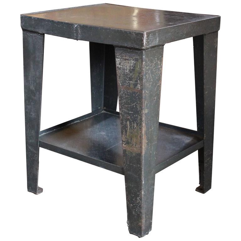 Vintage Industrial Rustic Steel And Metal End Side Table