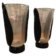 Pair of Glass Vases by Maurizio Artoni, Venice, Italy