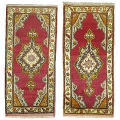 Pair of Turkish Oushak Medallion Rugs