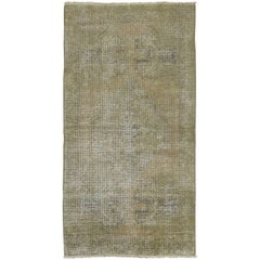 Mid 20th Century Shabby Chic Beige Color Turkish Oushak Small Rug