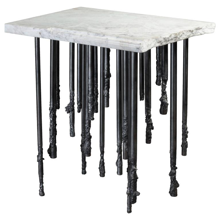 Stalactite II - White Marble and Iron Mini Console Table