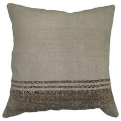 Ivory and Brown Vintage Kilim Pillow