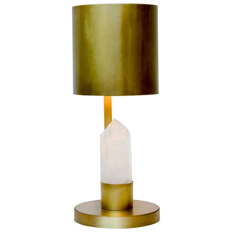 Brass and Rock Crystal Table Lamp For Sale