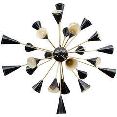 Oval Shaped Black Sconce Sputnik Chandelier