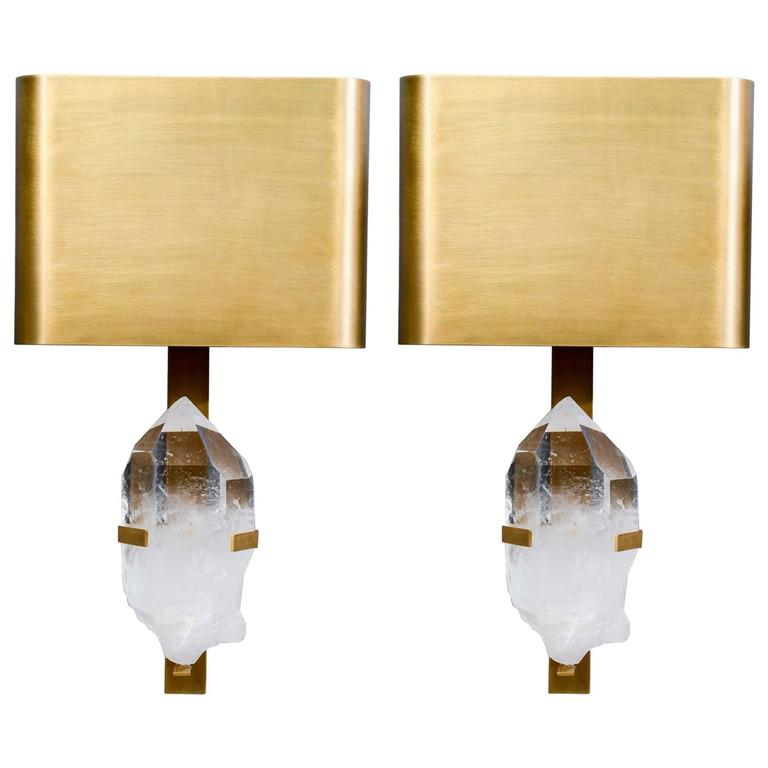 Pair of Brass and Rock Crystal Wall Sconces For Sale at 1stdibs