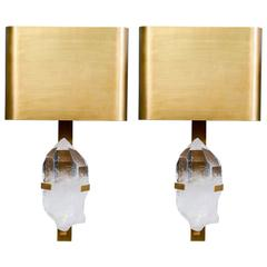 Pair of Brass and Rock Crystal Wall Sconces