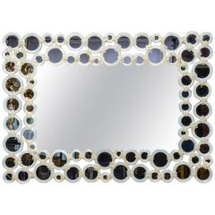 Mirror with Circles in Opaline Glass and Murano Glass, to be Hanged in Two Ways