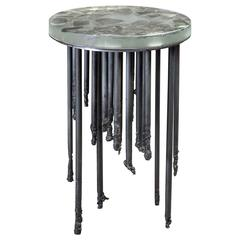 Stalactite Melted Iron and Cast Glass Side Table