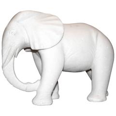 African Elephant Set of Two in White Marble