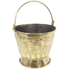 Dutch Embossed Brass Flatwood Bucket