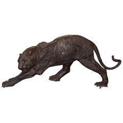 Black Bronze Panther Sculpture