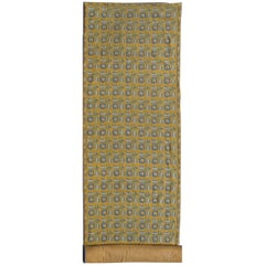Long Antique Greek Needlepoint Runner with a unique Floral Design in Yellow