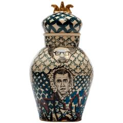 """""""Homage to Them"""" Porcelain Decorated Jar by Roberto Lugo"""