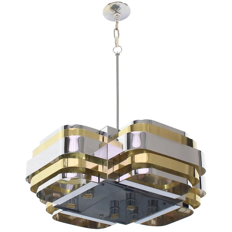 Brass and Chrome Light Fixture