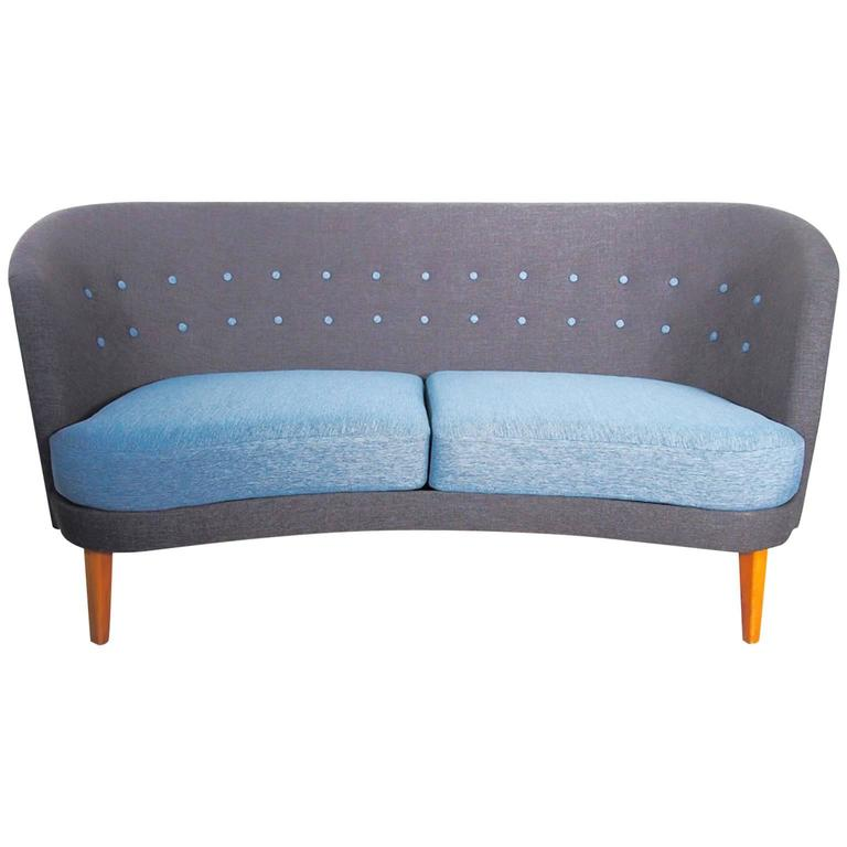 mid century modern slightly curved blue sofa for sale at 1stdibs