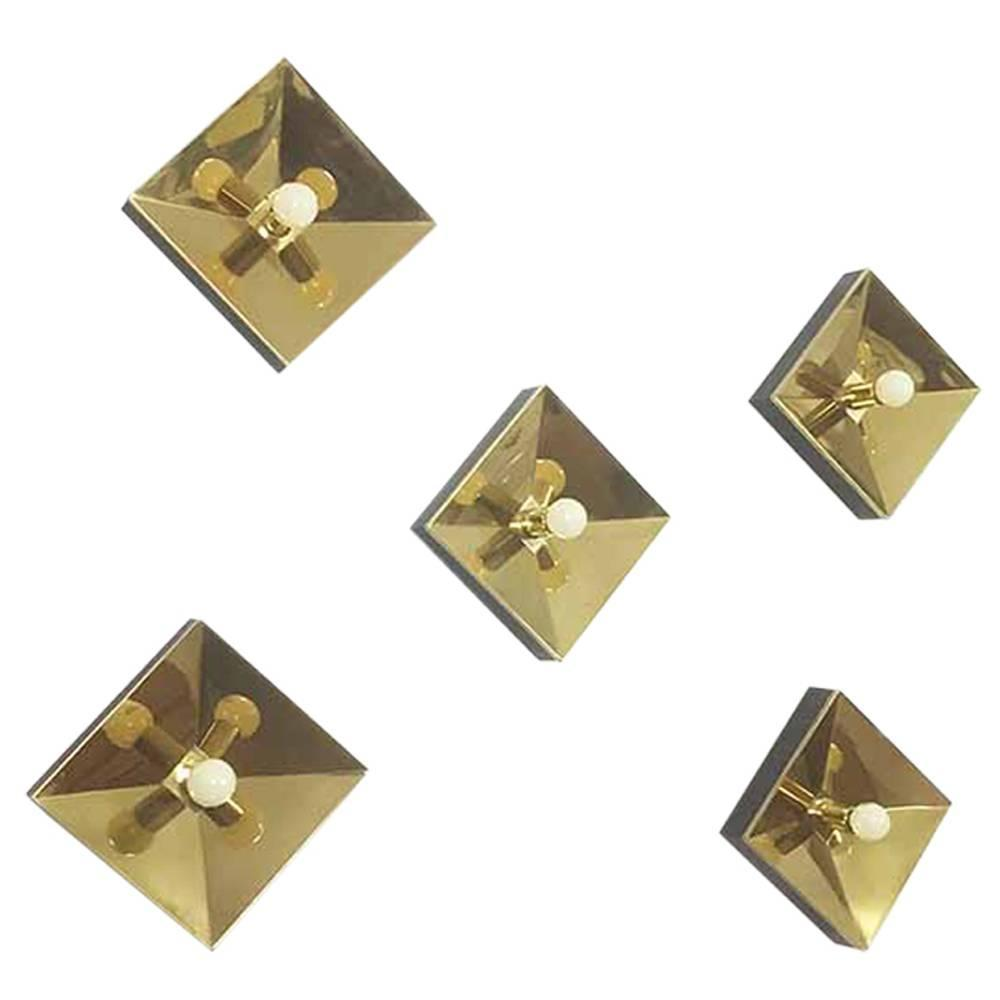 Wall Lights Made In Germany : Set of Five Modernist 1970s Brass Cubic Wall Lights Sconces Made in Germany For Sale at 1stdibs