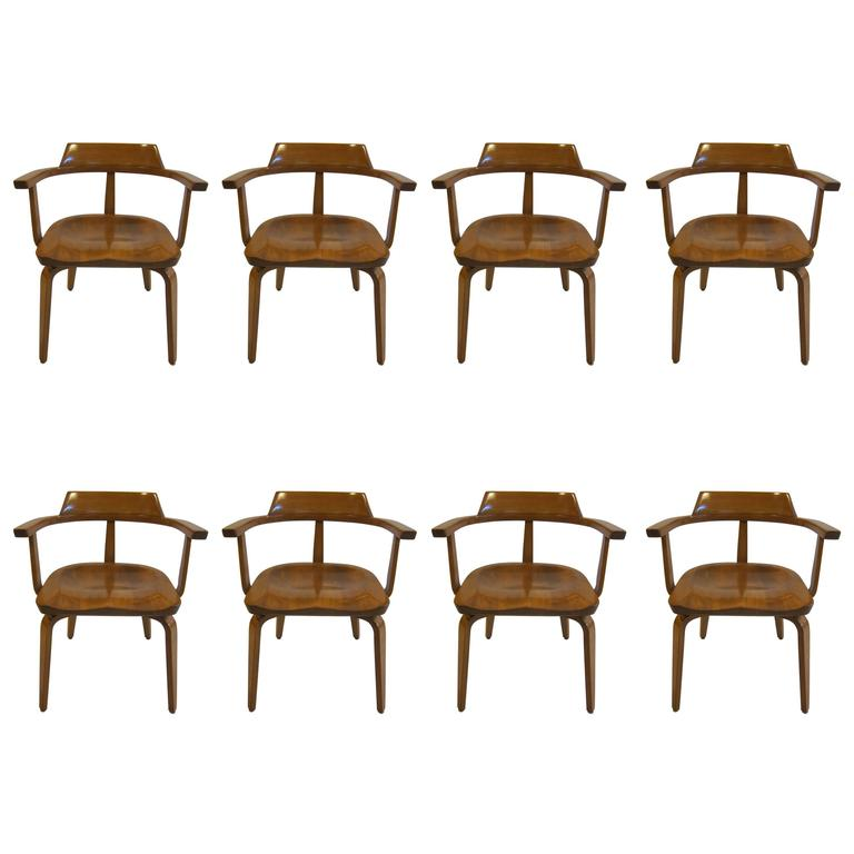 Walter Gropius Armchairs W199 Set of Eight For Sale