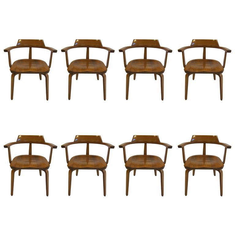 Walter Gropius Armchairs W199 Set of Eight
