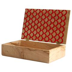 Koi Treasure Box in Figured Maple with Inlaid Resin - In Stock