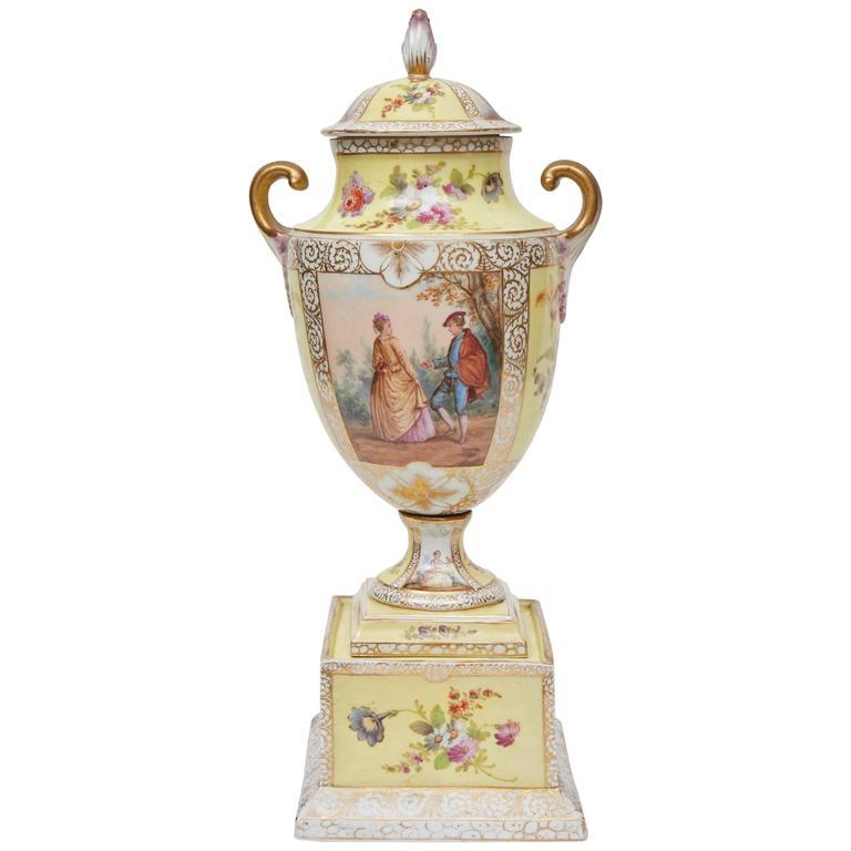 Dresden Lidded Urn on Plinth For Sale