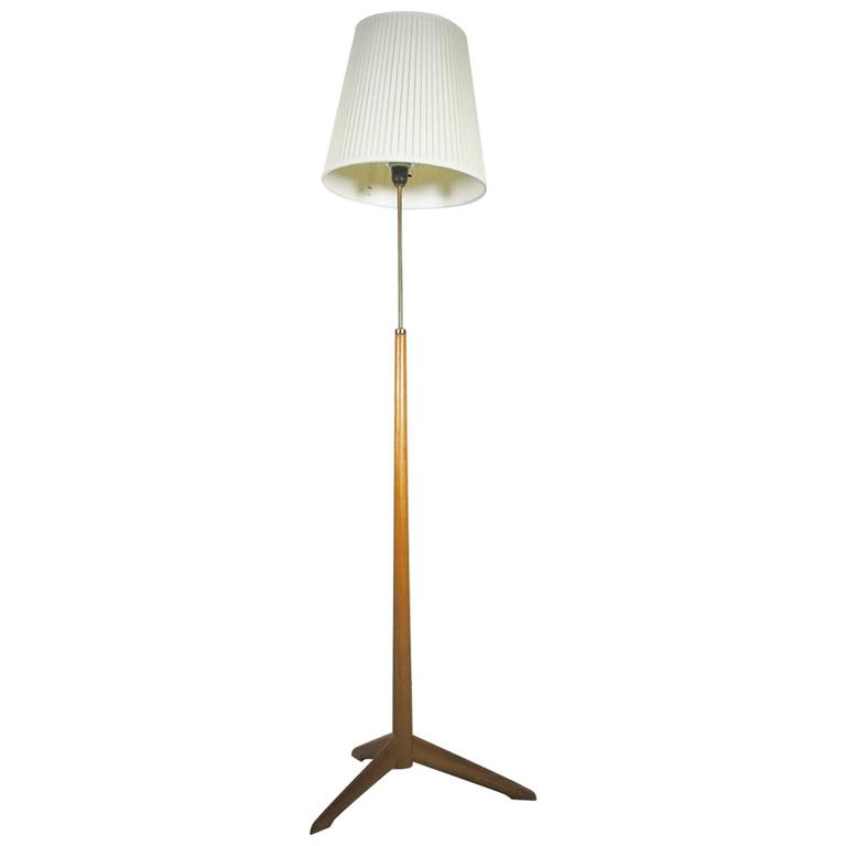 Swedish Mid-20th Century Floor Lamp with Wooden Stand by Bergboms