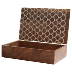 Koi Treasure Box in Walnut with Inlaid Resin - In Stock