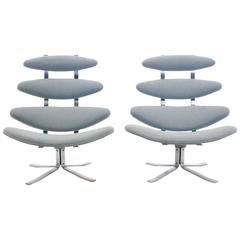 Pair of Original Production Poul Volther for Erik Jorgensen Corona Chairs