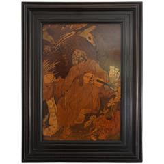 Late 19th Century Classical Marquetry Painting of a Musician with Violin & Skull