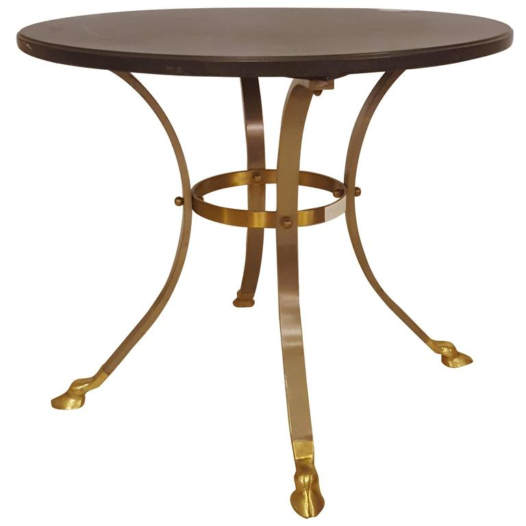 Brass and Steel Ebony Marble Top Gueridon Table / End Table Attibuted to Jansen