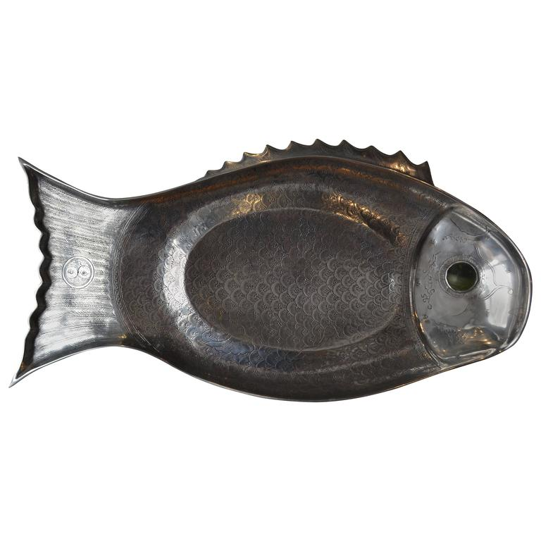 Polished Aluminum Fish Tray or Platter by Arthur Court, 1975