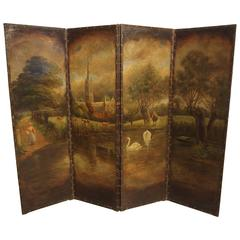 Antique Painted Leather Screen with Nailhead Surround, Northern France