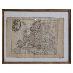 French European Framed Map Printed on Linen, Signed, Circa 1781